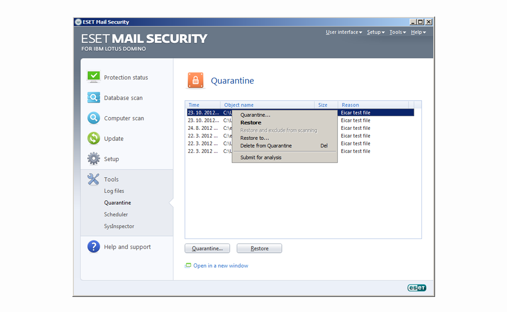 ESET Mail Security for IBM Lotus Domino - Tools - Quarantine