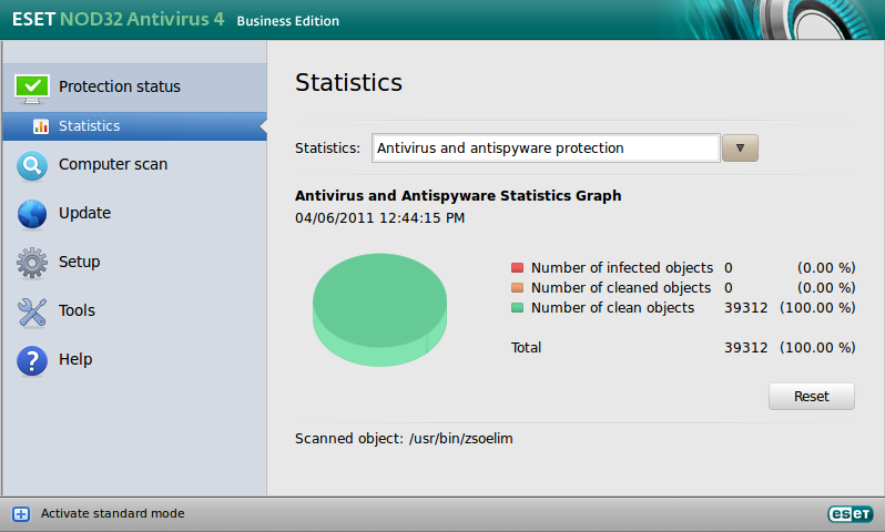 ESET NOD32 Antivirus Business Edition for Linux Desktop - Protection status - Statistics
